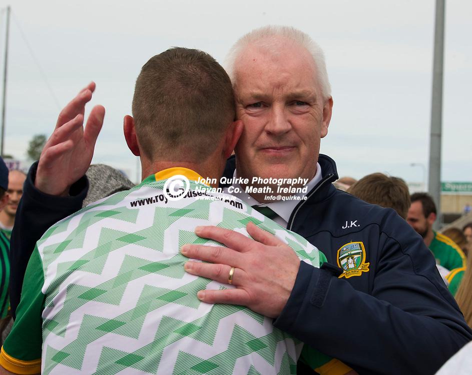 07-07-19. Meath v Clare - All-Ireland SFC Qualifier at O'Moore Park, Portlaoise.<br /> Meath GAA Vice Chairman John Kavanagh congratulating Andy McEntee.<br /> Photo: John Quirke / www.quirke.ie<br /> ©John Quirke Photography, Unit 17, Blackcastle Shopping Cte. Navan. Co. Meath. 046-9079044 / 087-2579454.