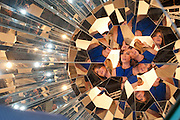 LAURIE JENNINGS; ABC ANCHOR LOOKING THROUGH A OLAFUR ELIASSON  PIECE ON THE TANYA BONAKDAR GALLERY, Opening of Miami Art Basel 2011, Miami Beach. 30 November 2011.
