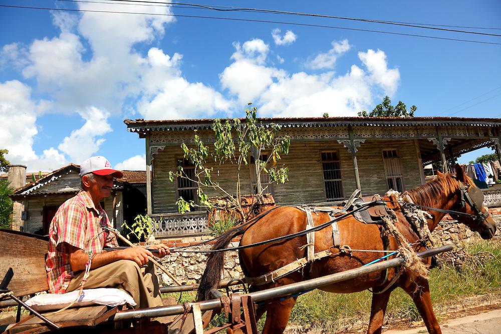 Horse and cart in San Miguel de los Banos, Matanzas, Cuba.