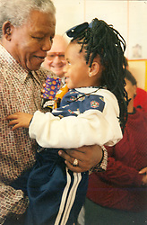 19. 06. 1997: Nelson Mandela at Wesfleur Creche. Picture: Thembinkosi Dwayisa.