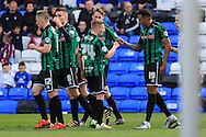 Nathaniel Mendez-Laing goal celebration 0-2 during the Sky Bet League 1 match between Peterborough United and Rochdale at London Road, Peterborough, England on 9 April 2016. Photo by Daniel Youngs.