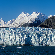 """The McBride tidewater Glacier, Glacier Bay national Park and Preserve, Southeast Alaska, USA.<br /> <br /> The Glacier Bay Basin is a myriad combination of tidewater glaciers, snow-capped mountain ranges, ocean coastlines, deep fjords, and freshwater rivers and lakes that provide widely varying land and seascapes, and hosts a mosaic of plant communities, and a great variety of marine and terrestrial wildlife. It has many branches, inlets, lagoons, islands, and channels that hold prospects for scientific exploration and a visual treat for the visitor.<br /> Glacier Bay, the body of water, covers an area 1.375 square miles (3,560 km2) of glaciers and accounts for 27% of the park area. It was a large single glacier of solid ice until early 18th century. It started retreating and evolved over the centuries into the largest protected water area park in the world. It was formerly known as the Grand Pacific Glacier about 4,000 feet (1200 m) thick and about 20 miles (32 km) in width, which has since then, over the last more than 200 years retreated by 65 miles (105 kms) to the head of the bay at Tarr Inlet, and in this process left separate 20 other glaciers, including this one, in its trail.<br /> Glaciers are very dynamic entities and there are seven """"active"""" tidewater glaciers in Glacier bay, which are advancing into the sea and thus calve off large chunks of ice that fall into the sea with a thunderous noise, raising large waves."""