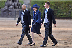 © Licensed to London News Pictures. 23/10/2018. London, UK. British Home Secretary Sajid Javid, Prime MInister Theresa May and British Fireign Secretary Jeremy Hunt attend the ceremonial welcome at Horse Guard Parade for His Majesty King Willem-Alexander of the Netherlands, accompanied by Her Majesty Queen Maxima. Photo credit: Ray Tang/LNP