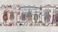 Bayeux Tapestry scene 29 - 30: Harold is proclaimed King then crowned.  BYX29 & BYX30 .<br /> <br /> If you prefer you can also buy from our ALAMY PHOTO LIBRARY  Collection visit : https://www.alamy.com/portfolio/paul-williams-funkystock/bayeux-tapestry-medieval-art.html  if you know the scene number you want enter BXY followed bt the scene no into the SEARCH WITHIN GALLERY box  i.e BYX 22 for scene 22)<br /> <br />  Visit our MEDIEVAL ART PHOTO COLLECTIONS for more   photos  to download or buy as prints https://funkystock.photoshelter.com/gallery-collection/Medieval-Middle-Ages-Art-Artefacts-Antiquities-Pictures-Images-of/C0000YpKXiAHnG2k