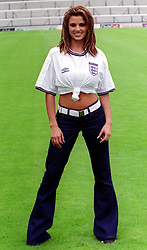 Fashion model Jordan appearing in an England football shirt, during the inaugral Women's Charity Shield football match, between Arsenal and Croydon, at Craven Cottage, Fulham.