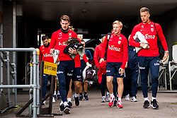 October 9, 2018 - LillestrØM, NORWAY - 181009 HÃ¥vard Nordtveit, Mats Møller Dæhli and goalkeeper Ørjan HÃ¥skjold Nyland arrive ahead of a training session on October 9, 2018 in Lillestrøm..Photo: Jon Olav Nesvold / BILDBYRÃ…N / kod JE / 160321 (Credit Image: © Jon Olav Nesvold/Bildbyran via ZUMA Press)