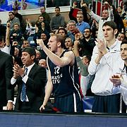 Anadolu Efes's Sinan Guler (C) during their Turkish Airlines Euroleague Basketball Top 16 Game 1 match Anadolu Efes between Galatasaray at Sinan Erdem Arena in Istanbul, Turkey, Thursday, January 19, 2012. Photo by TURKPIX
