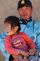 Mongolian Shepherd with his son, Inner Mongolia, China