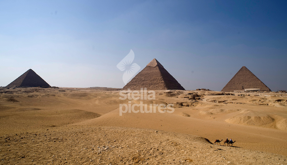 Picture by Daniel Hambury. .24/8/10..The three pyramids of Giza, near Cairo in, Egypt.