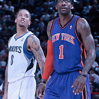 06 October 2010: New York Knicks forward Amare Stoudemire #1 is seen next to Minnesota Timberwolves forward Michael Beasley #8 during the Minnesota Timberwolves 106-100 victory over the New York Knicks, during 2010 NBA Europe Live, at the POPB Arena in Paris, France.
