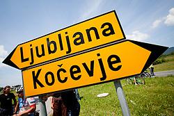 Signs Ljubljana and Kocevje during 2nd Stage (177,4 km) at 19th Tour de Slovenie 2012, on June 15, 2012, in Kocevje, Slovenia. (Photo by Matic Klansek Velej / Sportida.com)