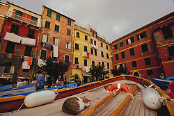 Europe, Italy, Cinque Terre, Manarola, cat sleeping on boat drydocked at  colorful seaside town