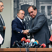 Turkish national soccer team new coach Fatih Terim (2ndL) attend a signing ceremony in Istanbul, Turkey on 22 August 2013. Turkish Football Federation has agreed a 1-year contract with Fatih Terim for Turkish A National Team Head Coach. Terim signed his contract today in TFF Headquarters, Istanbul with the participation of TFF President Yildirim Demirören, TFF Executive Board and TFF General Secretary. Fatih Terim will take charge of Turkey for the rest of their 2014 FIFA World Cup qualifying campaign, starting next month, while remaining in his role as coach of Galatasaray. Photo by TURKPIX