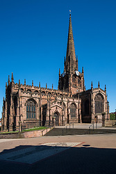 20 April 2020 Rotherham South Yorkshire - Week 5 of the UK emergency measures to combat the Coronavirus Covid-19 Pandemic. All Saints Church Rotherham Minster<br /> <br /> 20 April 2020<br /> <br /> www.pauldaviddrabble.co.uk<br /> All Images Copyright Paul David Drabble - <br /> All rights Reserved - <br /> Moral Rights Asserted -