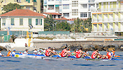 San Remo, ITALY,  Qualification Races, men's quadruple sculls M4X+, approaching the first bouy. 91. SN Bergerac club,  2008 FISA Coastal World Championships. Friday 17/10/2008. [Photo, Peter Spurrier/Intersport-images] Coastal Rowing Course: San Remo Beach, San Remo, ITALY