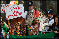 August 23, 2019, London, United Kingdom: Demonstrators gather at the Brazilian embassy in London over Brazil's inaction to tackle the wildfires sweeping through the Amazon rainforest. (Credit Image: © Martyn Wheatley/i-Images via ZUMA Press)