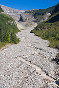 The Nisqually River and moraine below Nisqually Glacier, Mount Rainier National Park, Washington