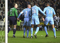 Photo. Glyn Thomas.Digitalsport<br /> Newcastle United v Tottenham Hotspur. FA Barclaycard Premiership. St James' Park, Newcastle. 13/12/2003.<br /> Tempers flare after Shearer scores his second goal and Tottenham's Dean Richards is held apart from goalkeeper Kasey Keller.