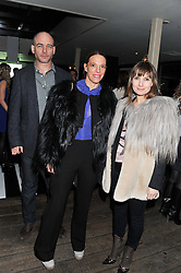 Left to right, DINOS CHAPMAN, TIPHAINE DE LUSSY and DAISY BATES at the InStyle Best of British Talent Event in association with Lancôme and Avenue 32 held at The Rooftop Restaurant, Shoreditch House, Ebor Street, London E1 on 30th January 2013.