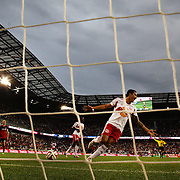 Tim Cahill, New York Red Bulls celebrates a goal during the New York Red Bulls Vs Chicago Fire, Major League Soccer regular season match won 5-4 by the Chicago Fire at Red Bull Arena, Harrison, New Jersey. USA. 10th May 2014. Photo Tim Clayton