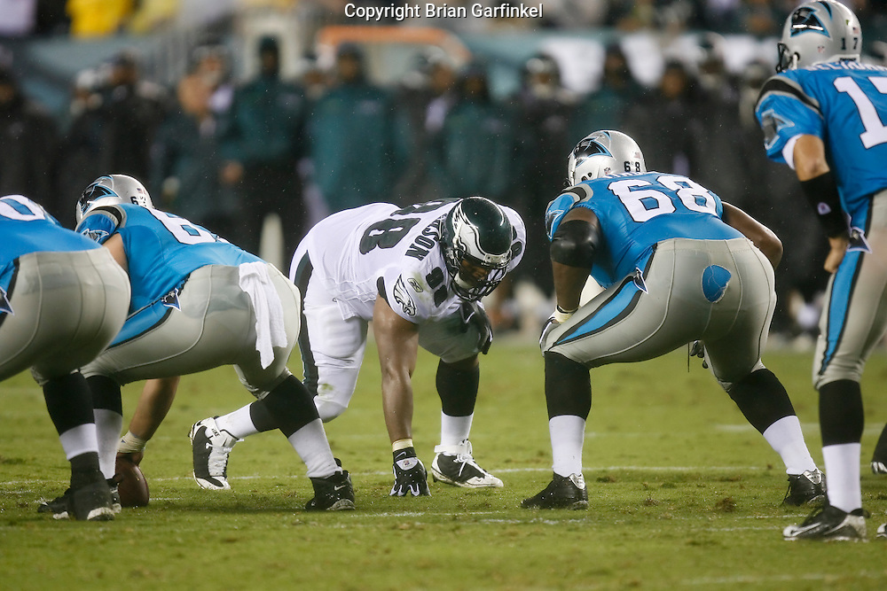 8 August 2008: Philadelphia Eagles defensive tackle Mike Patterson #98 lines up with Carolina Panthers guard Keydrick Vincent #68 during the game against the Carolina Panthers on August 14, 2008. The Eagles beat the Panthers 24 to 13 at Lincoln Financial Field in Phialdelphia, Pennsylvania.