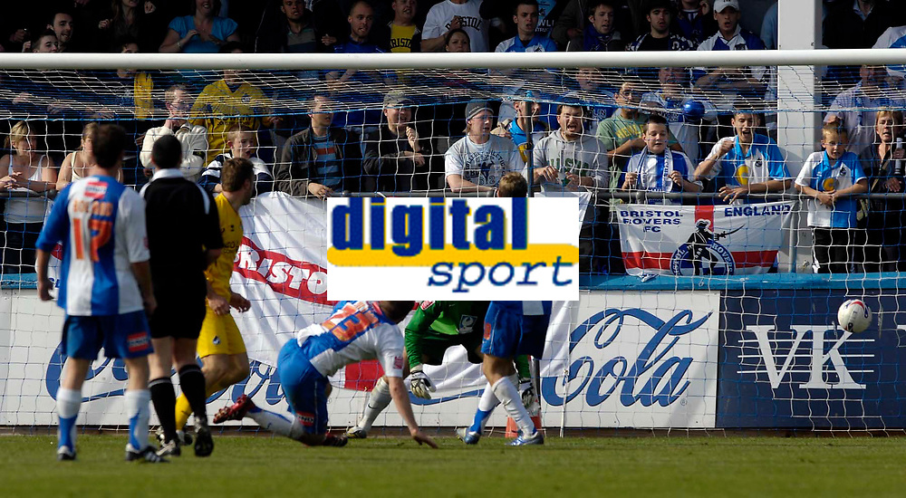 Photo: Jed Wee/Sportsbeat Images.<br /> Hartlepool United v Bristol Rovers. Coca Cola League 2. 05/05/2007.<br /> <br /> Bristol Rovers' Rickie Lambert (yellow jersey) scores the goal that clinches their playoff place and sees Hartlepool lose out to Swindon for the championship title.