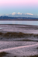 Mount Blanshard (The Golden Ears) and Mount Robbie Reid from the banks of the Nicomeckl River. Photographed from Crescent Beach's Blackie Spit in Surrey, British Columbia, Canada