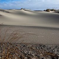 Sand forms interesting light and shadow formations and patters in a section of dunes at Sandy Hook a day after a fierce nor'easter coastal storm impacted the area