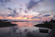 Sunrise in the river of Santa Eulalia del Rio, the only one in all Balearic Islands, Ibiza