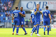 Cardiff City defender Aden Flint (5) applauds the home fans during the EFL Sky Bet Championship match between Cardiff City and Bristol City at the Cardiff City Stadium, Cardiff, Wales on 28 August 2021.