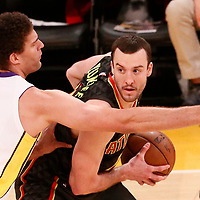 07 January 2018: Los Angeles Lakers center Brook Lopez (11) defends on Atlanta Hawks center Miles Plumlee (18) during the LA Lakers 132-113 victory over the Atlanta Hawks, at the Staples Center, Los Angeles, California, USA.