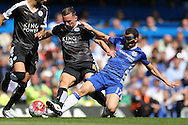 Pedro of Chelsea intercepts Daniel Drinkwater of Leicester City. Barclays Premier league match, Chelsea v Leicester city at Stamford Bridge in London on Sunday 15th May 2016.<br /> pic by John Patrick Fletcher, Andrew Orchard sports photography.
