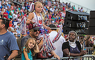 Aug. 21, 2015, in Mobile, AL. , Laci Lamb, 6, of Lucedale, Miss in a home made beauty pageant dress  at the Republican presidential candidate businessman Donald Trump campaign pep rally. Over 20 thousand came to the Ladd-Peebles Stadium to attend Trumps campaign pep rally.