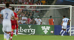 June 22, 2017 - Kielce, Poland - England Jacob Murphy scores a goal during the UEFA U-21 European Championship Group A football match England v Poland in Kielce, Poland on June 22, 2017. (Credit Image: © Foto Olimpik/NurPhoto via ZUMA Press)