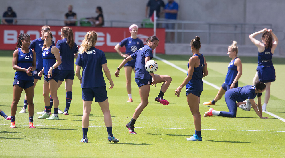 Defender ALANA COOK and other members of the United States Women's National Team (USWNT) warm up at the new Q2 soccer stadium in Austin during one of the final games on their road to the 2021 Tokyo  Olympics. The team will play a friendly with Nigeria on Wednesday evening.