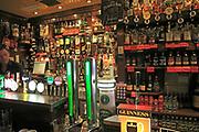 Beer pumps and bar display inside the Temple Bar pub, Dublin city centre, Ireland, Republic of Ireland