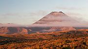 Warm evening light over active volcano Mount Ngauruhoe, in Tongariro National Park, New Zealand.