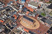 Nederland, Groningen, Gemeente Oldambt,  01-05-2013; centrum Winschoten met Marktplein met Grote Kerk (Marktpleinkerk), de toren 'Olle Witte'.<br /> Small provincial town, marketplace, regional centre (northeast Holland).<br /> luchtfoto (toeslag op standard tarieven);<br /> aerial photo (additional fee required);<br /> copyright foto/photo Siebe Swart