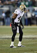 New Orleans Saints strong safety Roman Harper (41) gets set during the NFL NFC Wild Card football game against the Philadelphia Eagles on Saturday, Jan. 4, 2014 in Philadelphia. The Saints won the game 26-24. ©Paul Anthony Spinelli