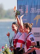 Brandenburg. GERMANY. Lightweight Women's presentation left to right  Silver, DEN LM1X, Runge HOLMGAARD,  Gold, GER LW1X, Anja NOSKE and Bronze, NED LW1X. Elisabeth WOERNER. <br /> 2016 European Rowing Championships at the Regattastrecke Beetzsee<br /> <br /> Sunday  08/05/2016<br /> <br /> [Mandatory Credit; Peter SPURRIER/Intersport-images]