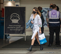 © Licensed to London News Pictures. 19/08/2020. London, UK. Commuters arrive for work this morning at Victoria Station in London as rail users face a 1.6% season ticket price rise in January 2021 as ministers are used for it to be postponed to encourage workers to get back to their offices during the coronavirus crisis. Photo credit: Alex Lentati/LNP