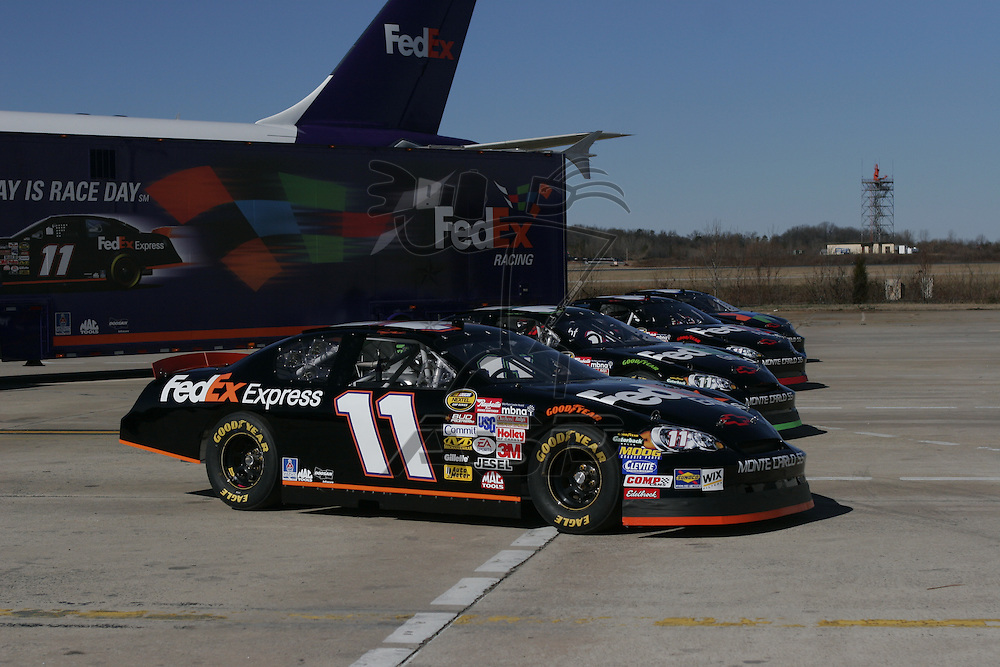 Charlotte, NC - Jan 25, 2006:  The No 11 FedEx Chevrolet Monte Carlo is photographed at Charlotte Douglas International Airport in Charlotte, NC.