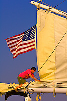 Taking down the sails, Schooner Nathaniel Bowditch, Pulpit Harbor, Penobscot Bay, Maine USA