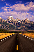 Image of Grand Teton Range and road in Grand Teton National Park, Wyoming, Pacific Northwest by Randy Wells