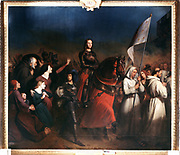 Joan of Arc's entry into Orleans, Evening of the Liberation of the Town, 8 May 1429'. St Joan (c1412-1431) Maid of Orleans, French patriot and martyr, mounted and in full armour. Henry Sheffer (1798-1862) French.  Painting. Oil on canvas. Versailles.