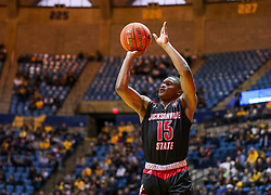 Dec 22, 2018; Morgantown, WV, USA; Jacksonville State Gamecocks guard Derek St. Hilaire (15) shoots during the first half against the West Virginia Mountaineers at WVU Coliseum. Mandatory Credit: Ben Queen-USA TODAY Sports