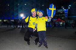 November 20, 2018 - Stockholm, SWEDEN - 181120 Swedish fans before the Nations League football match between Sweden and Russia on November 20, 2018 in Stockholm  (Credit Image: © Dennis Ylikangas/Bildbyran via ZUMA Press)