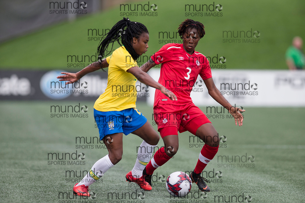 OTTAWA, ON - September 2: Ludmile (19 -- F) of Brazil and Kadeisha Buchanan (3 -- CB) of Canada battle for the ball during the first half of an international FIFA women's friendly match between Canada and Brazil at TD Place Stadium in Ottawa, Canada, September 2, 2018. (Photo by Sean Burges/Mundo Sport Images)