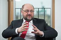 22 FEB 2016, BERLIN/GERMANY:<br /> Martin Schulz, SPD, Praesident des Europaeischen Parlamentes, waehrend einem Interview, Spiegel Hauptstadtbuero<br /> IMAGE: 20160222-01-024
