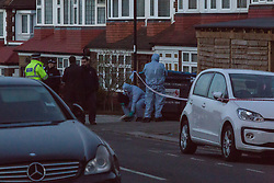 Forensics investigators examine the scene on Brookdale Road where a knife was found near a Costa Coffee outlet on Bowes Road in Arnos Grove, following a stabbing in which a male victim has been left in critical condition. Arnos Grove, North London, November 12 2018.